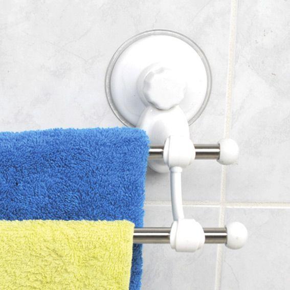 porte-serviette double avec ventouse blanc - porte-serviette - eminza