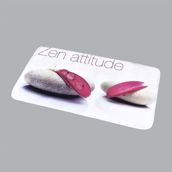 Tapis de bain zen attitude l90 cm prune tapis salle de for Tapis de salle de bain zen
