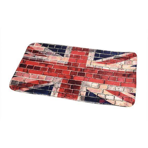 tapis de bain union jack l90 cm rouge tapis salle de bain eminza. Black Bedroom Furniture Sets. Home Design Ideas