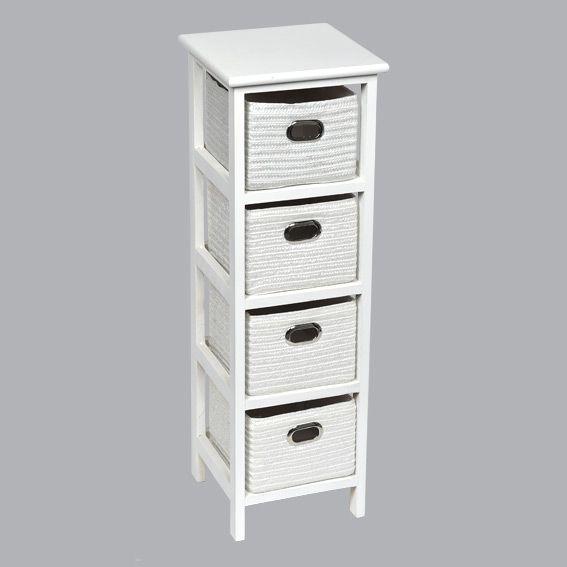 meuble panier narrow key west blanc meuble d co eminza. Black Bedroom Furniture Sets. Home Design Ideas