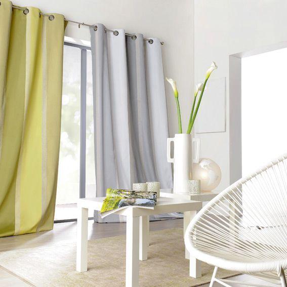 Rideau 145 x 260 cm orsey blanc et gris rideaux eminza - Linge de maison blanc ...