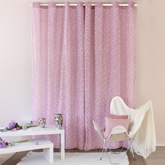 voilage 140 x h240 cm liberty vieux rose voilage eminza. Black Bedroom Furniture Sets. Home Design Ideas