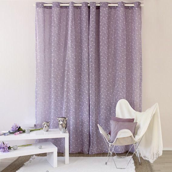 voilage 140 x h240 cm liberty violet voilage eminza. Black Bedroom Furniture Sets. Home Design Ideas