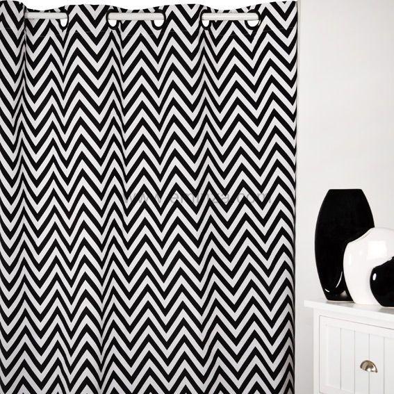 rideau 140 x h250 cm dozer blanc et noir rideau tamisant eminza. Black Bedroom Furniture Sets. Home Design Ideas