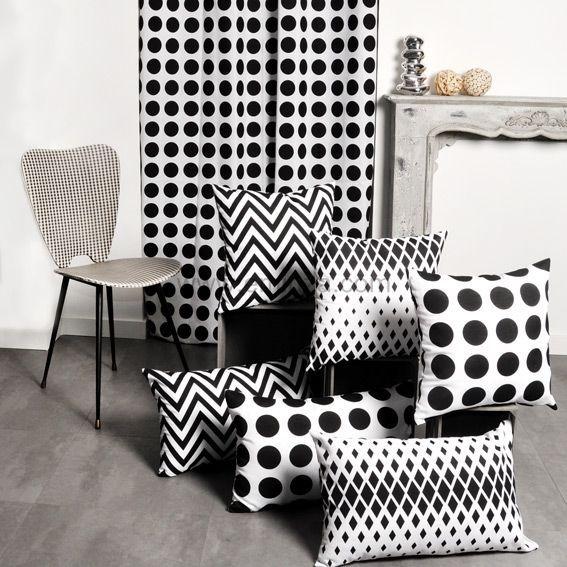 rideau 140 x h250 cm dozer blanc et noir rideau. Black Bedroom Furniture Sets. Home Design Ideas