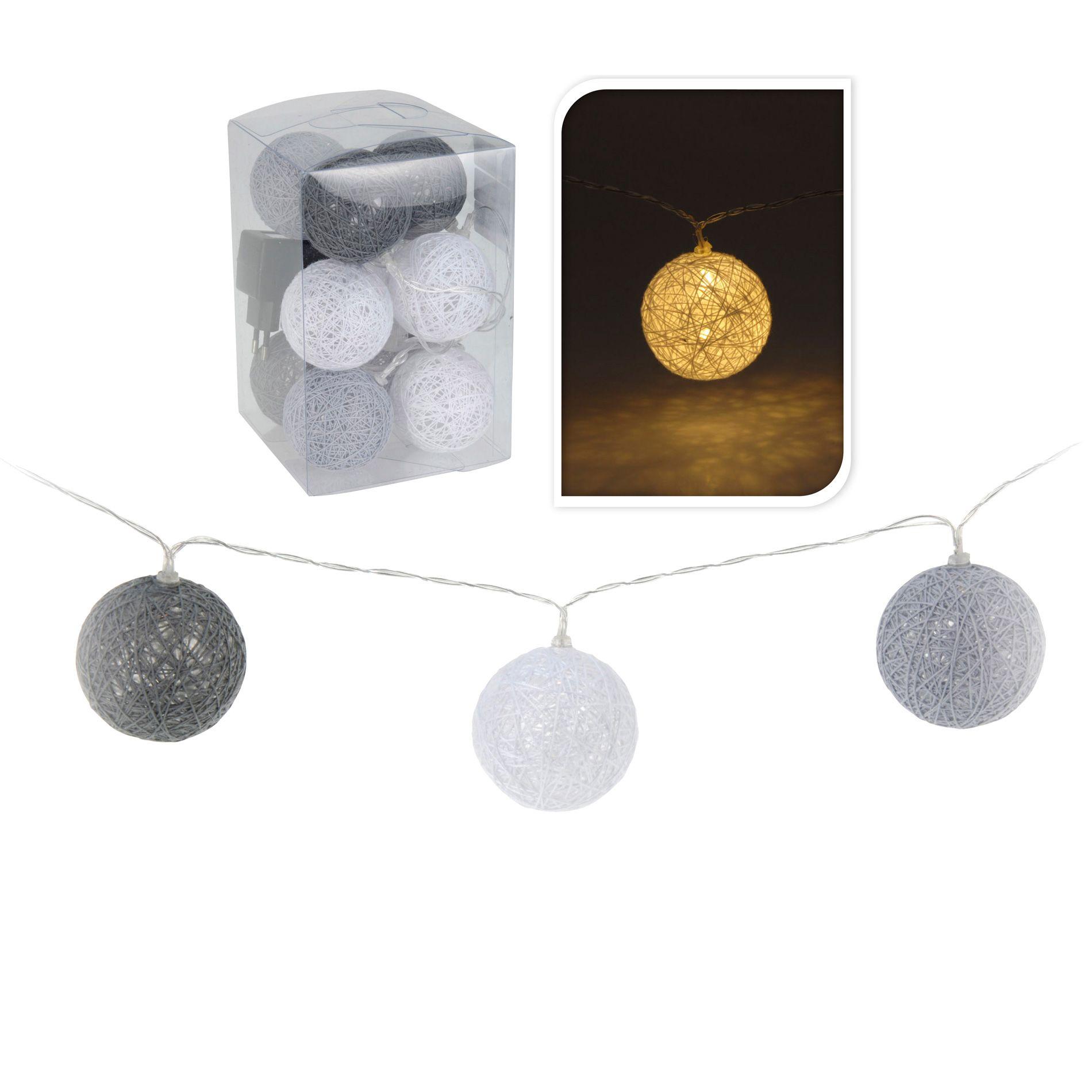 guirlande lumineuse boule raffia blanc chaud 10 led. Black Bedroom Furniture Sets. Home Design Ideas
