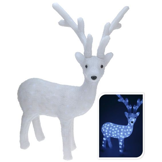 Renne lumineux splendide blanc froid 60 led silhouette - Decoration noel renne lumineux ...