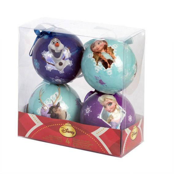 retour decoration de sapin lot de 4 boules de nol disney reine - Chaussette De Noel Disney