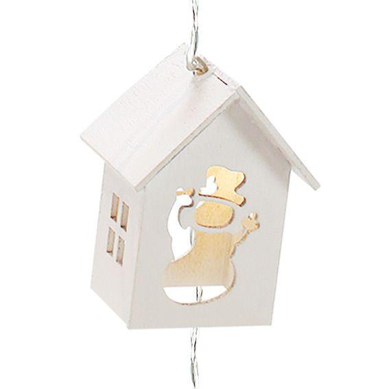 guirlande lumineuse maisonnettes bonhomme blanc chaud 10 led guirlande lumineuse eminza. Black Bedroom Furniture Sets. Home Design Ideas