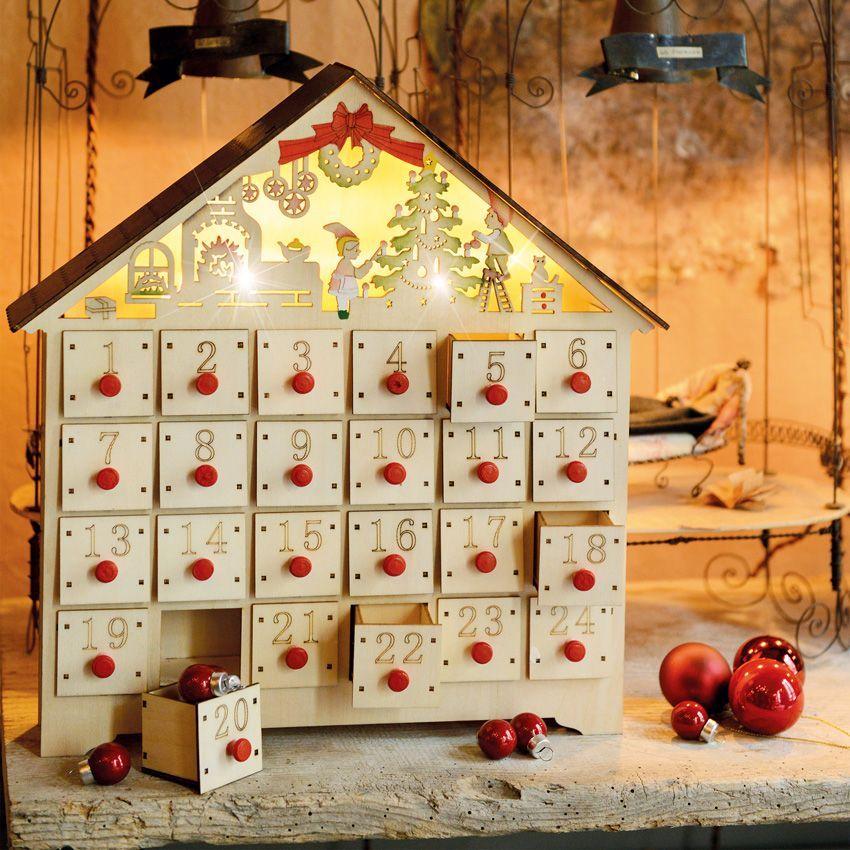 Calendrier de l 39 avent lumineux chalet calendrier de l - Decoration fenetre de l avent ...