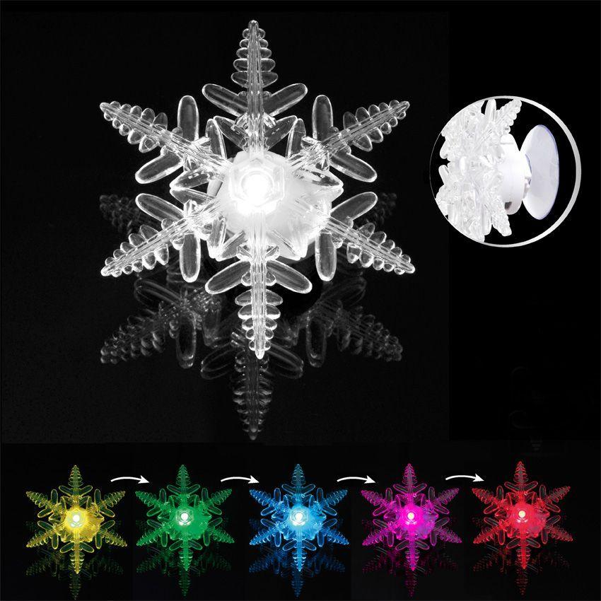 D coration lumineuse sur ventouse flocon de neige for Decoration lumineuse fenetre