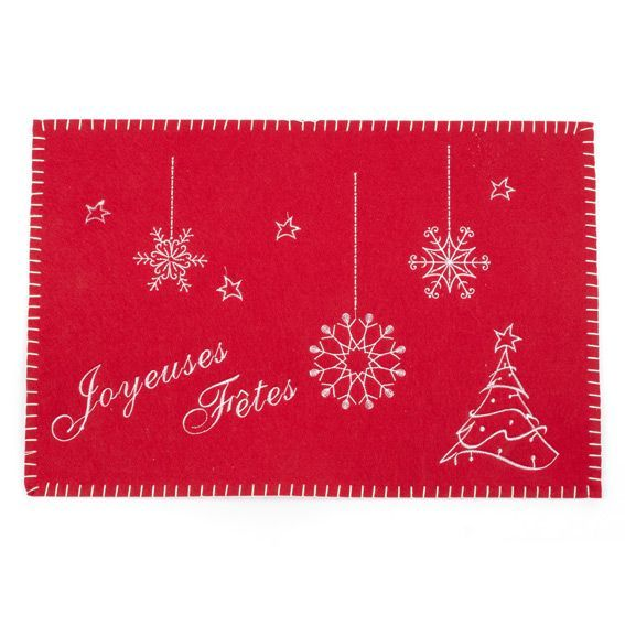 Set De Table Brod Joyeuses F Tes Rouge Linge De Table