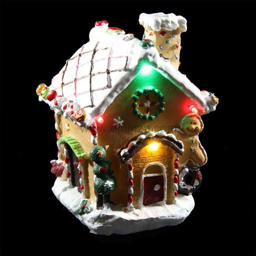 Petite maison illumin e pain d 39 pices joyeux village de - Petite maison de noel decoration ...