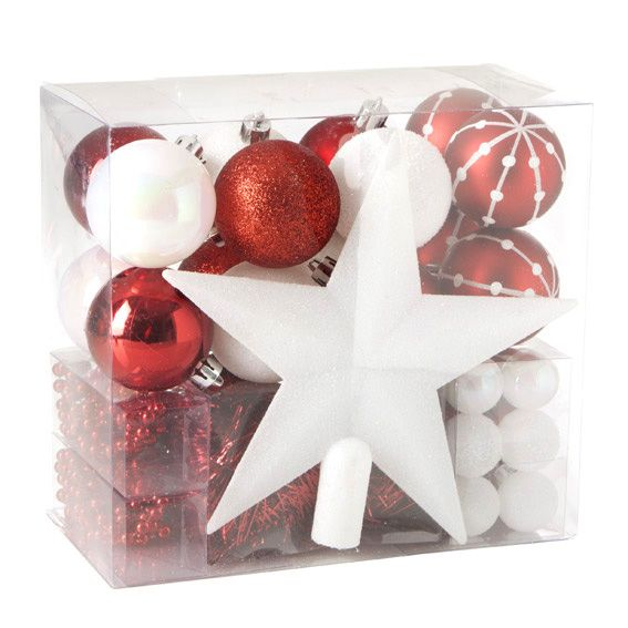 Kit de d coration de sapin de no l aspen rouge kit de - Decoration sapin de noel rouge et blanc ...