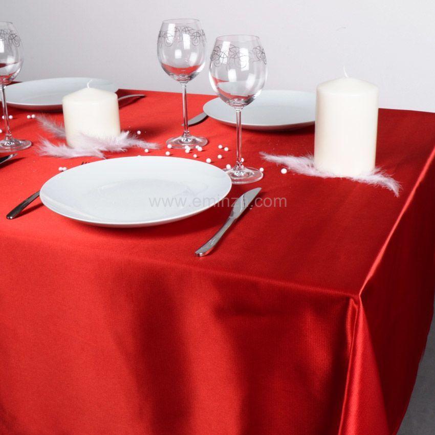 Nappe rectangulaire (L360 cm) Satin Rouge - Linge de table - Eminza