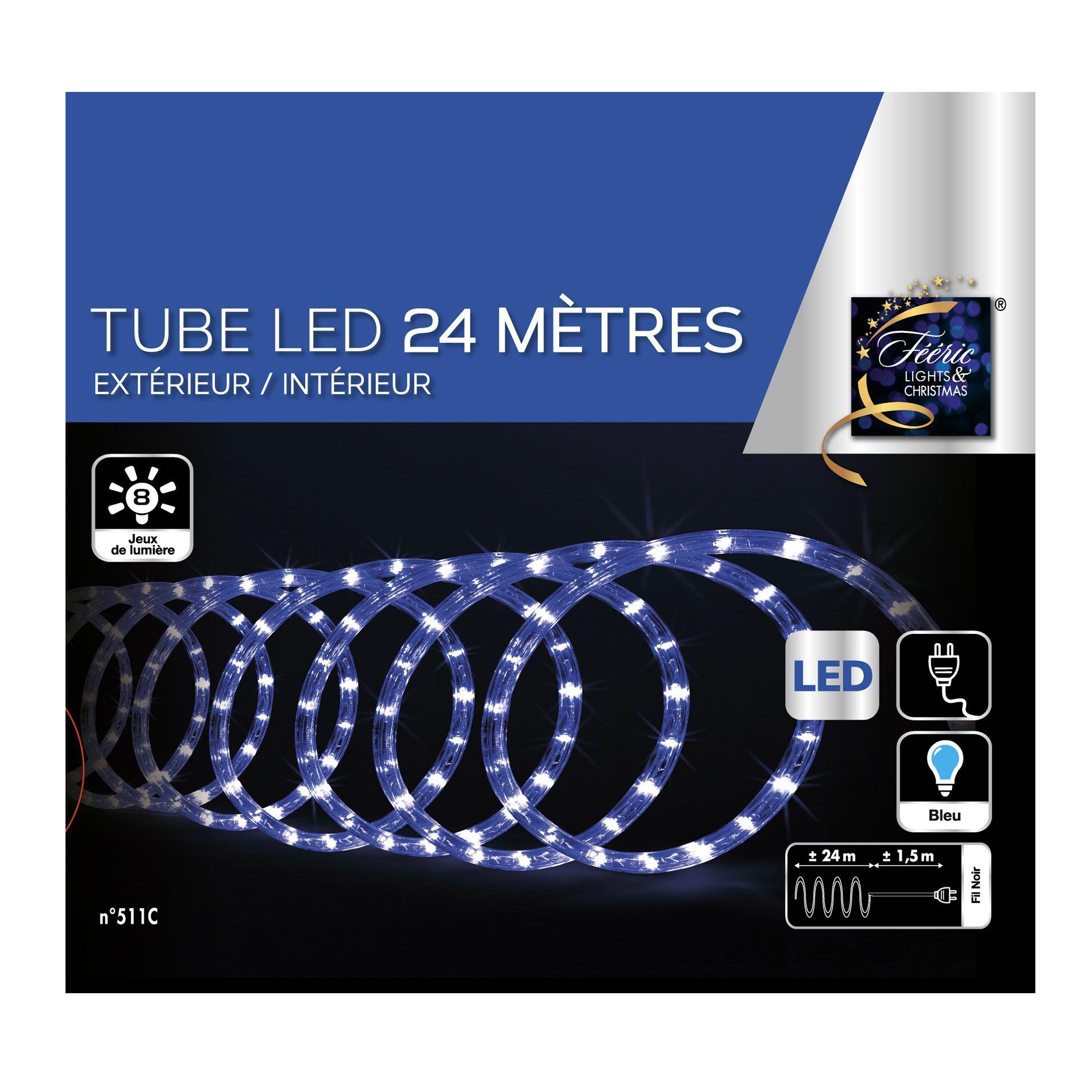 Tube lumineux 24 m bleu 432 led guirlande lumineuse eminza for Tube lumineux led exterieur