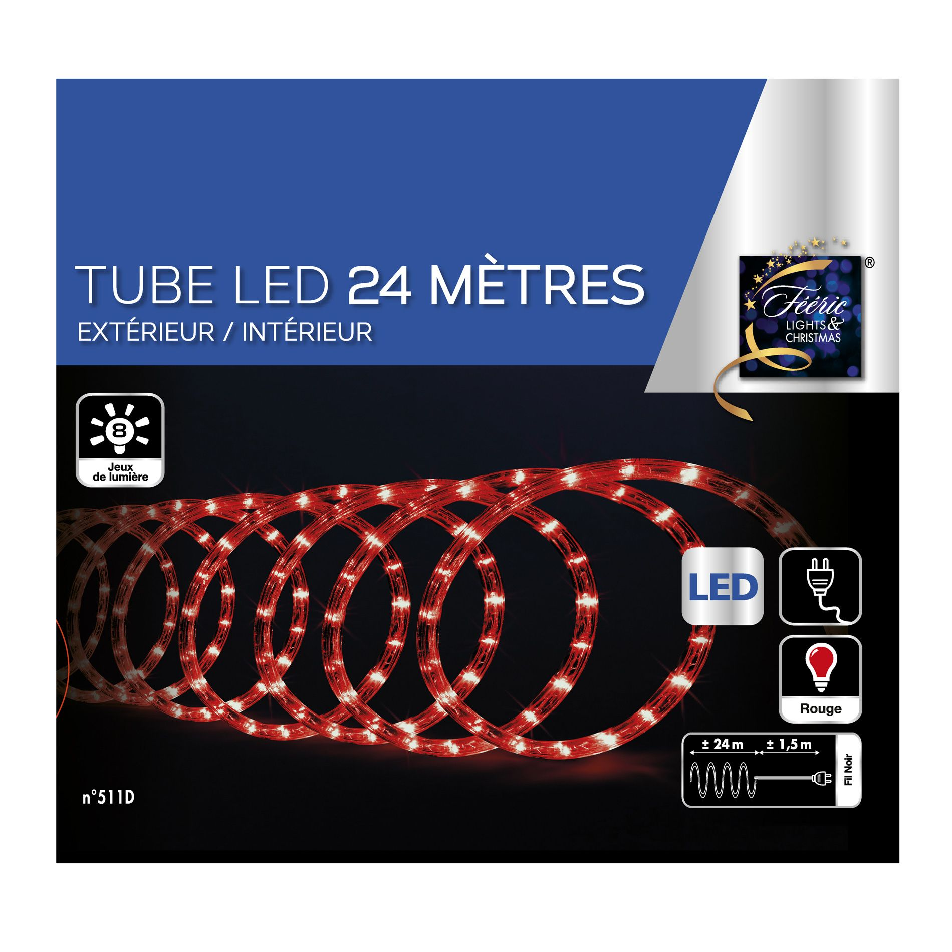 tube lumineux 24 m rouge 432 led guirlande lumineuse eminza. Black Bedroom Furniture Sets. Home Design Ideas