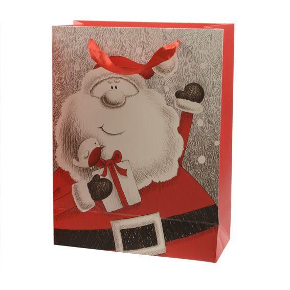 sac cadeau h24 cm papa no l joyeux rouge emballages cadeaux eminza. Black Bedroom Furniture Sets. Home Design Ideas