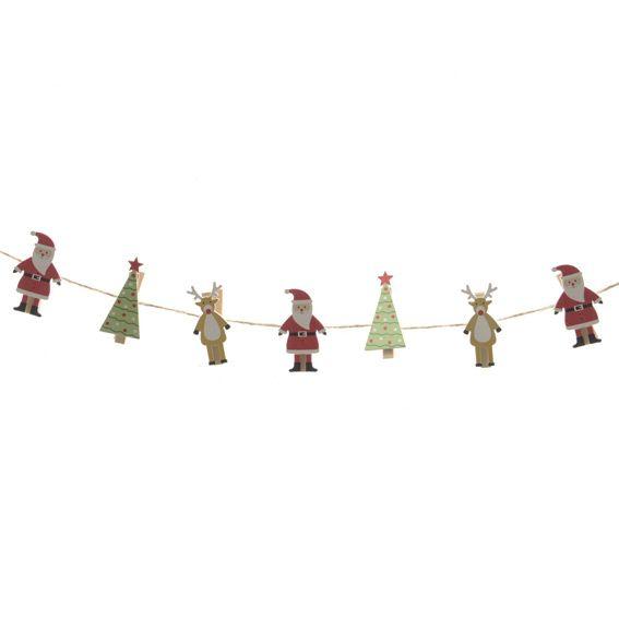 Bien-aimé Banderole de Noël personnages de bois Multicouleur - Décoration à  RP83