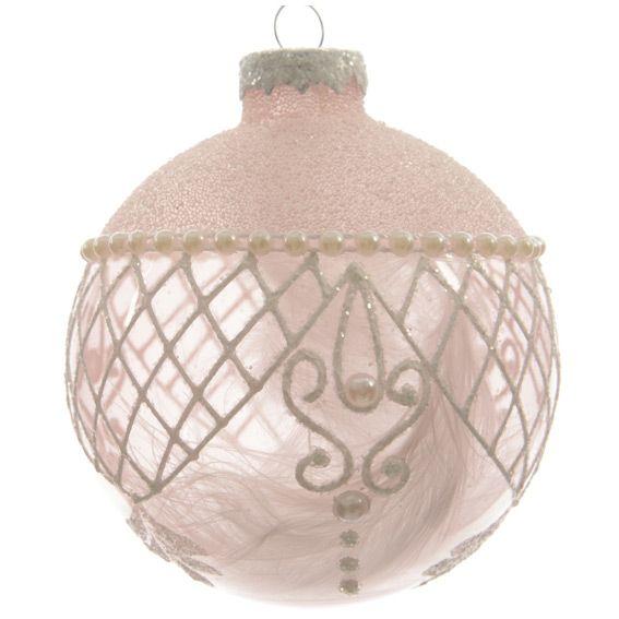 lot de 3 boules de no l d80 mm dentelle rose poudr boule de no l eminza. Black Bedroom Furniture Sets. Home Design Ideas