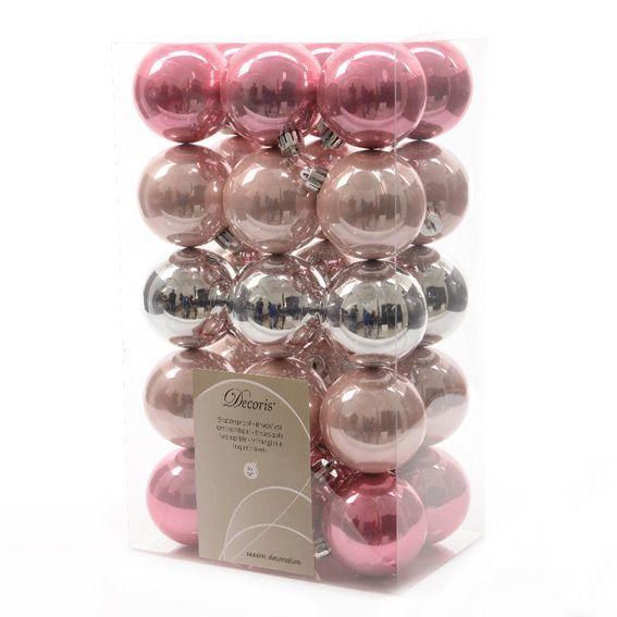 lot de 30 boules de no l d60 mm alpine mix rose poudr boule de no l eminza. Black Bedroom Furniture Sets. Home Design Ideas