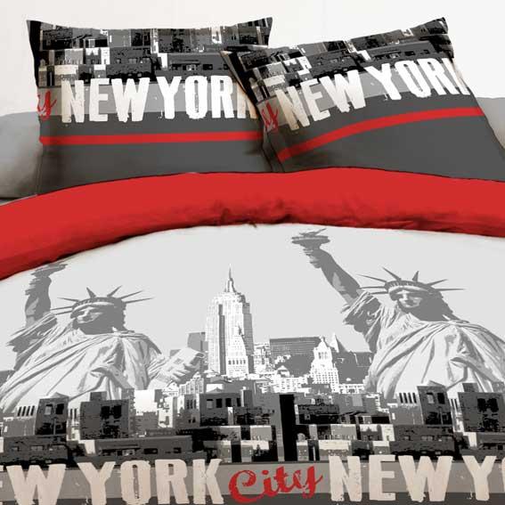 Housse de couette et deux taies 240 cm new york rouge for Housse couette new york