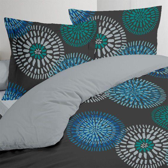 housse de couette et deux taies 260 cm ines bleu. Black Bedroom Furniture Sets. Home Design Ideas