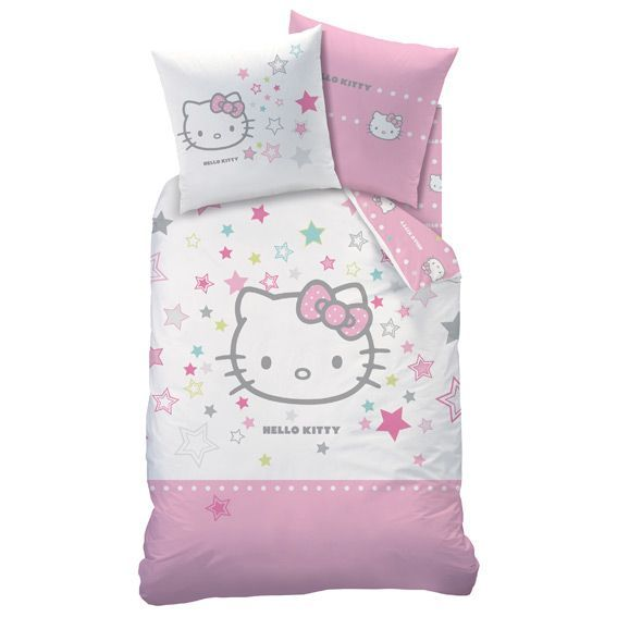 housse de couette et une taie 140 cm hello kitty galaxy. Black Bedroom Furniture Sets. Home Design Ideas