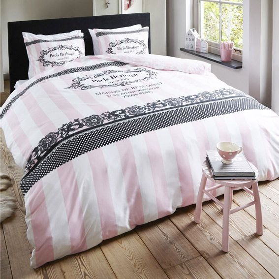 housse de couette romantique rose. Black Bedroom Furniture Sets. Home Design Ideas