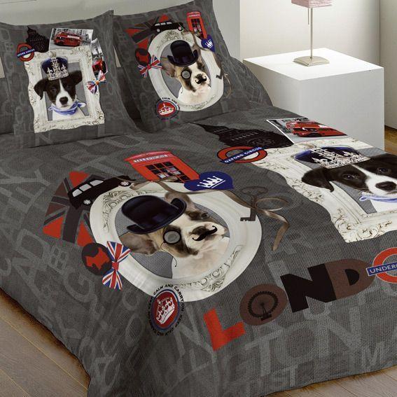 housse de couette et une taie 140 cm london dogs. Black Bedroom Furniture Sets. Home Design Ideas