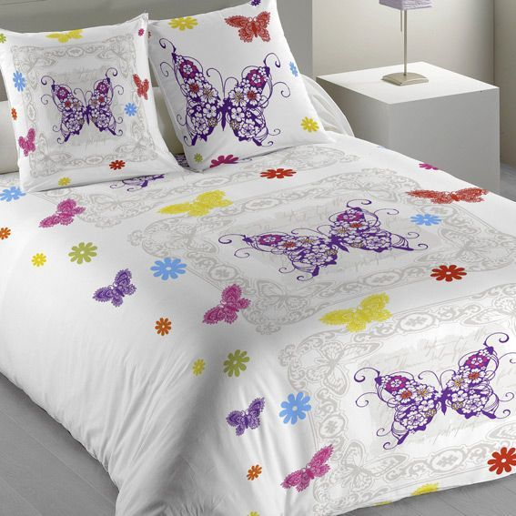 housse de couette et une taie 140 cm papillon multicolore housse de couette eminza. Black Bedroom Furniture Sets. Home Design Ideas