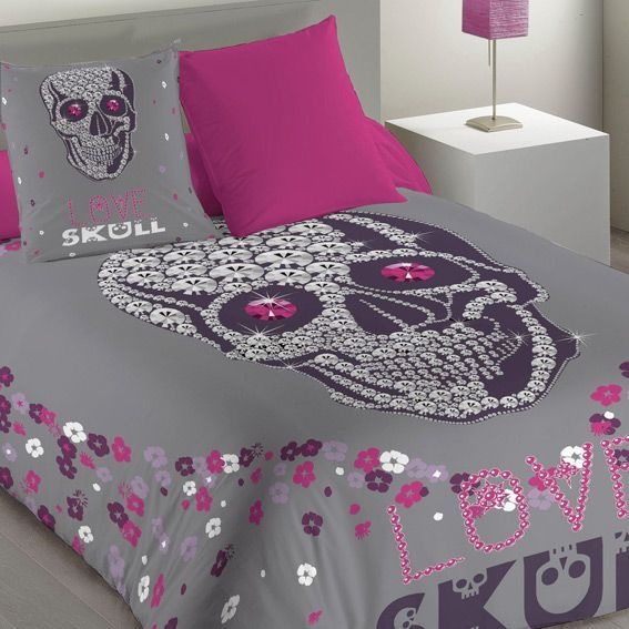 housse de couette et deux taies 240 cm skully housse de couette eminza. Black Bedroom Furniture Sets. Home Design Ideas