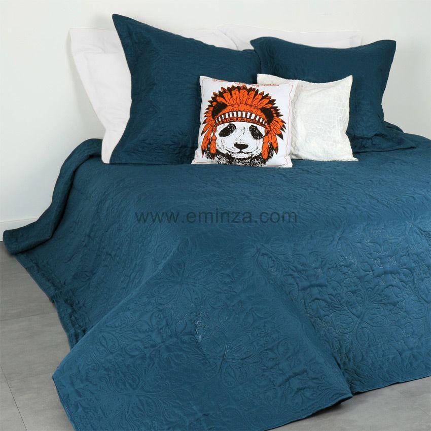 boutis et taie d 39 oreiller 180 x 240 cm ceylan bleu. Black Bedroom Furniture Sets. Home Design Ideas