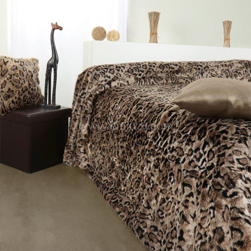 couvre lit 230 x 250 cm imitation fourrure l opard couvre lit boutis eminza. Black Bedroom Furniture Sets. Home Design Ideas