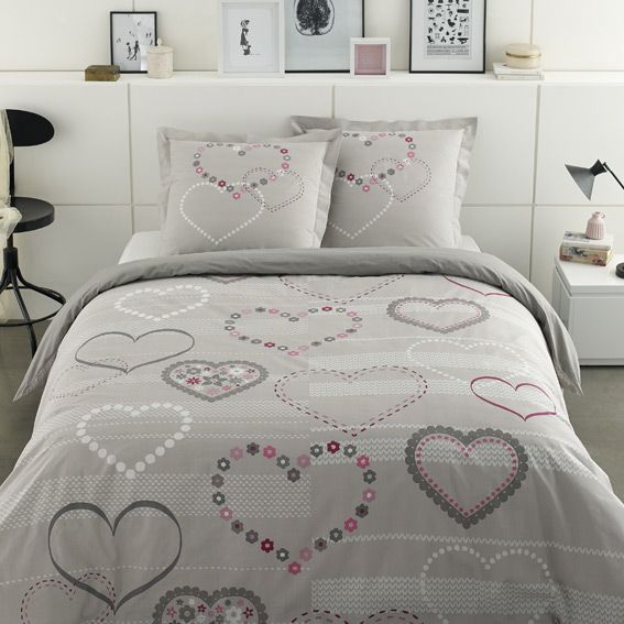 housse de couette et deux taies 240 cm valentine. Black Bedroom Furniture Sets. Home Design Ideas