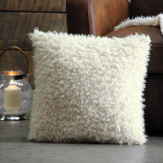 Housse de coussin fausse fourrure 40 cm mouton blanc - Coussin fausse fourrure blanc ...