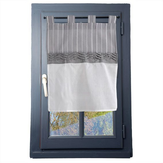 voilage vitrage 45 x h60 cm clerina gris rideau et. Black Bedroom Furniture Sets. Home Design Ideas