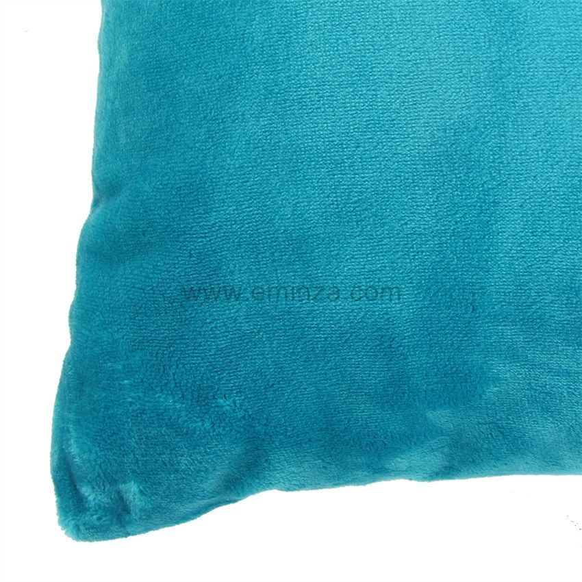 Housse de coussin 60 cm doudou turquoise housse de for Housse de coussin 60 60