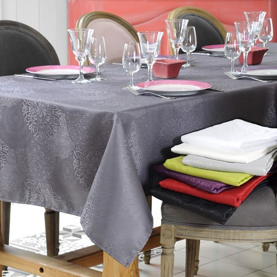 nappe rectangulaire l240 cm totema anthracite linge de table eminza. Black Bedroom Furniture Sets. Home Design Ideas