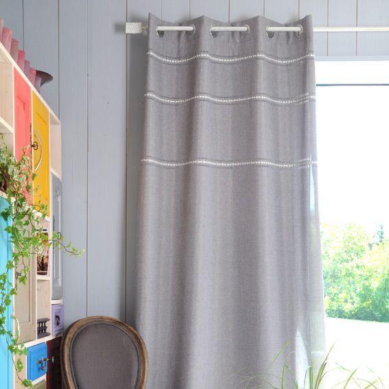 Rideau 135 x h260 cm carmelle gris rideaux eminza - Rideau style bord de mer ...