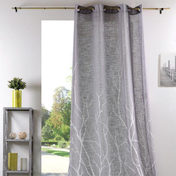 voilage 135 x h250 branche gris voilage eminza. Black Bedroom Furniture Sets. Home Design Ideas