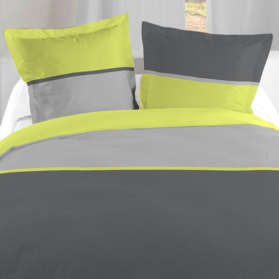 housse de couette et une taie 140 cm bicolore anis. Black Bedroom Furniture Sets. Home Design Ideas