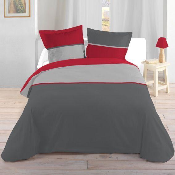 housse de couette et une taie 140 cm bicolore rouge housse de couette eminza. Black Bedroom Furniture Sets. Home Design Ideas
