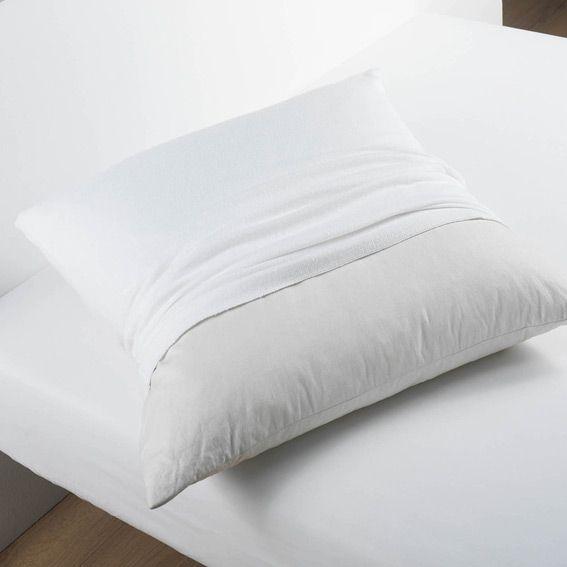 prot ge oreiller carr molleton blanc protection de lit eminza. Black Bedroom Furniture Sets. Home Design Ideas