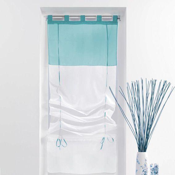 store voilage droit 60 cm bicolore bleu store voilage eminza. Black Bedroom Furniture Sets. Home Design Ideas