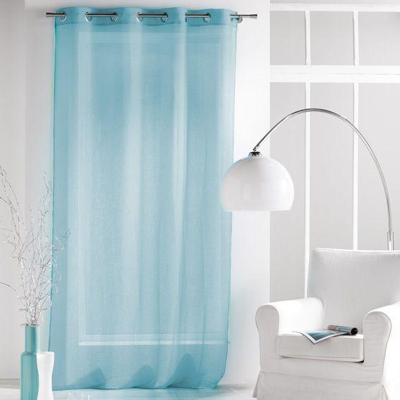 voilage 140 x h240 cm paloma bleu voilage eminza. Black Bedroom Furniture Sets. Home Design Ideas