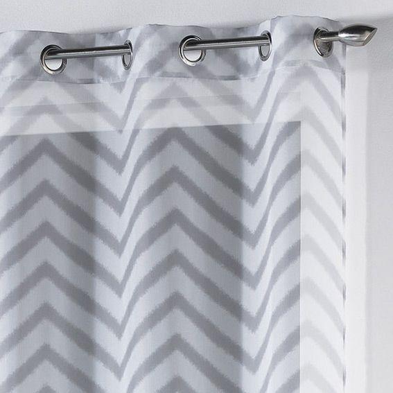 voilage 140 x h240 cm zigzag blanc voilage eminza. Black Bedroom Furniture Sets. Home Design Ideas