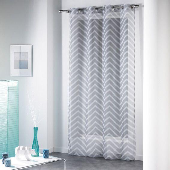 voilage 140 x h240 cm zigzag gris voilage eminza. Black Bedroom Furniture Sets. Home Design Ideas