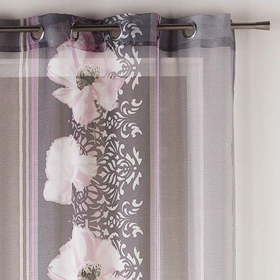 voilage 140 x h240 cm yalis rose voilage eminza. Black Bedroom Furniture Sets. Home Design Ideas
