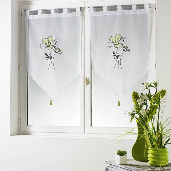 paire de voilages 60 x h160 cm geoly anis voilage vitrage eminza. Black Bedroom Furniture Sets. Home Design Ideas